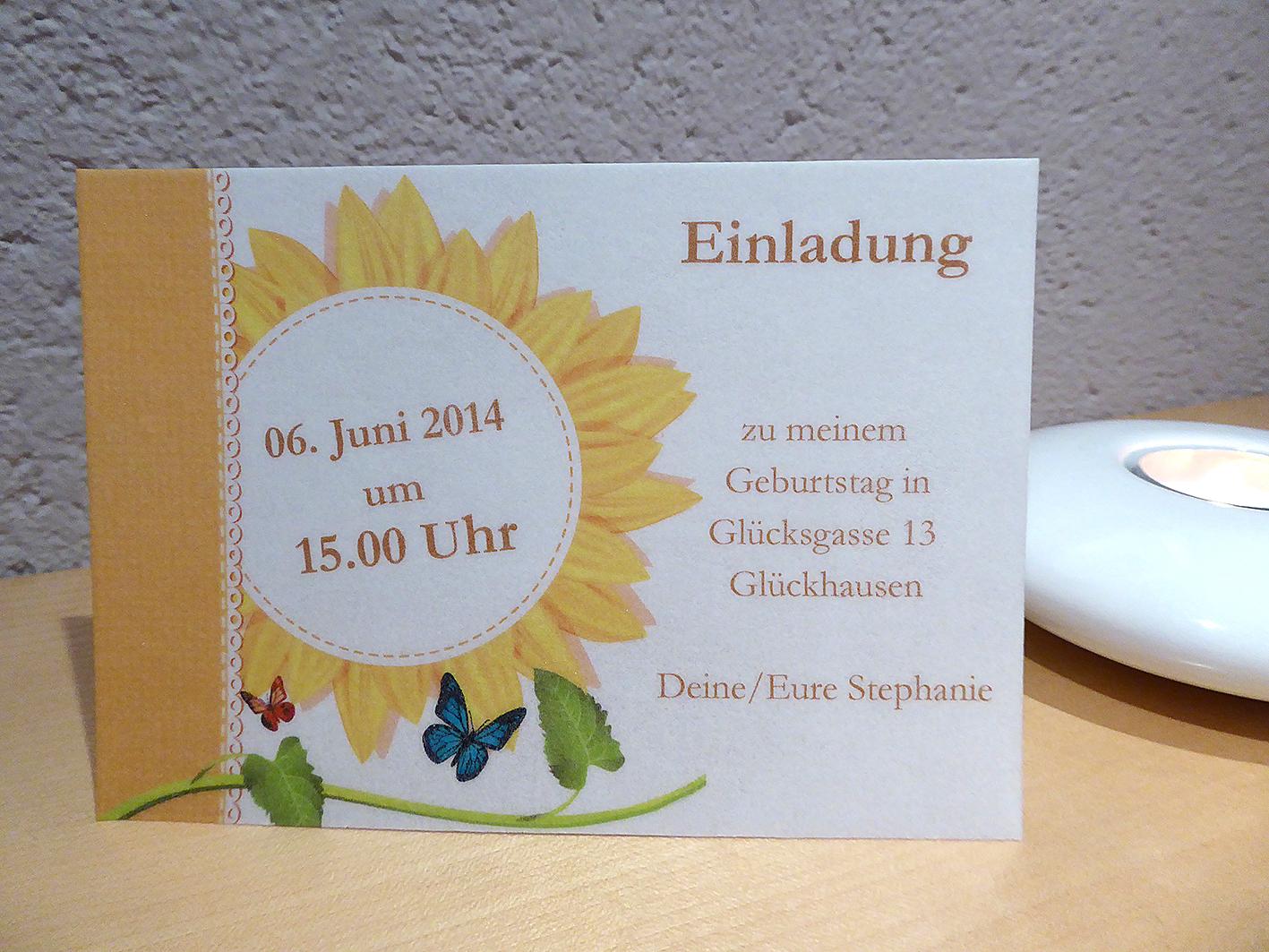 sonnenblume, Einladungsentwurf